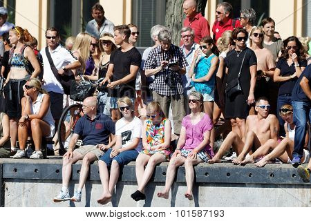 Audience Watching From The Quay