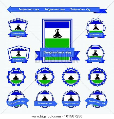 Lesotho Independence Day Flags Infographic Design