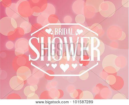 Bridal Shower Pink Bokeh Sign Illustration
