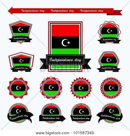 Libya Independence Day Flags Infographic Design