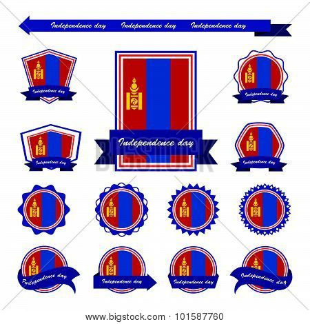 Mongolia Independence Day Flags Infographic Design