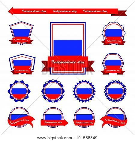 Russia Independence Day Flags Infographic Design