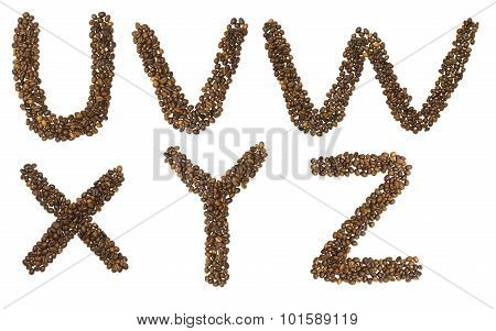 Letters U - Z Of Coffee Beans