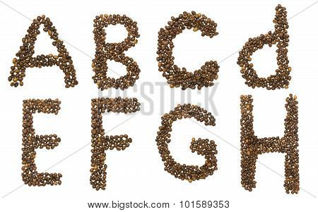 Letters A - H Of Coffee Beans