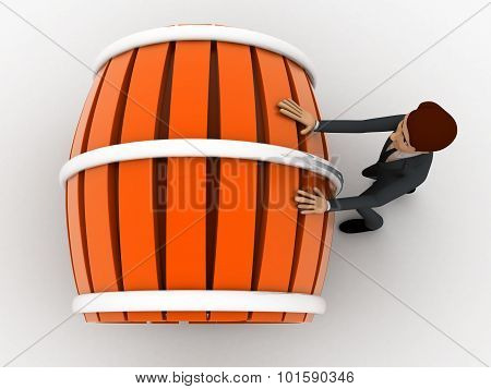 3D Man Pushing And Rolling Big Barrel Concept