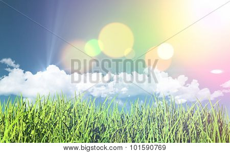 3D render of a grassy landscape with a retro effect