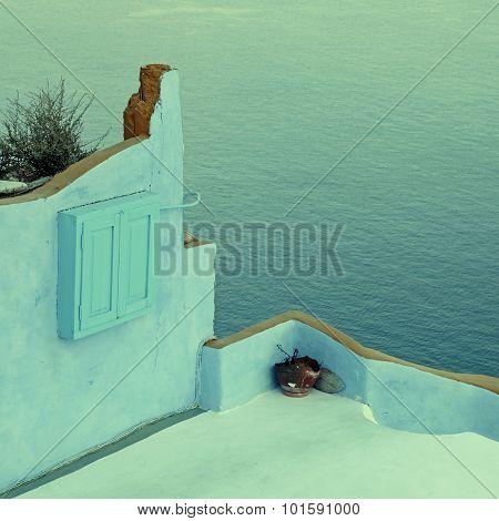 Terrace With Colorful Walls Above Aegean Sea In Twilight, Santorini