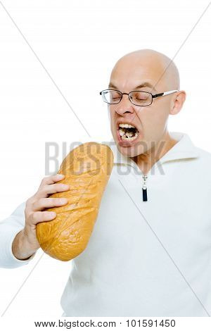 Man Biting A Loaf. Isolated On White