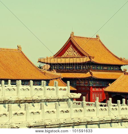 Golden Chinese Tile Roofs In Forbidden City (beijing,china)