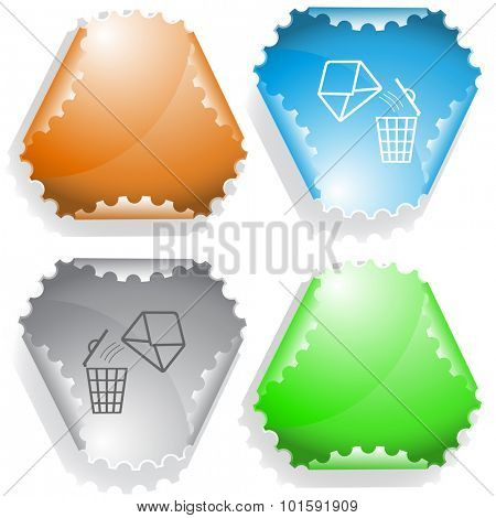 open mail with bin. Vector sticker.