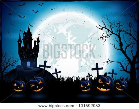 Halloween Pumpkins And Dark Castle