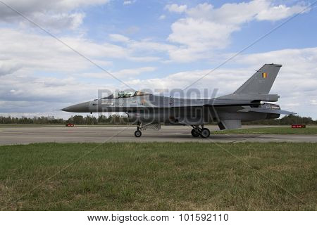 Hradec Kralove, Czech Republic - September 5: Landing F-16 Fighting Falcon With Belgian Flag On The