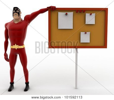 3D Superhero Pointing At Notice Board Concept