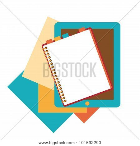 Flat design of notepad, paper sheets and tablet