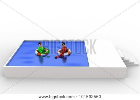 3D Superhero Swimming In Pool With Float And Another Superhero Concept