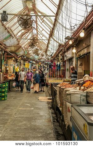 People walking in Jerusalem Market