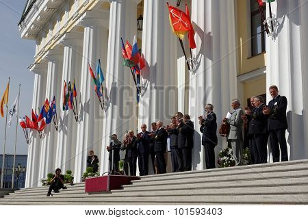 ST. PETERSBURG, RUSSIA - SEPTEMBER 1, 2015: Celebrations of the Day of Knowledge in the National Mineral Resources University. It's the oldest Russian higher education school devoted to engineering