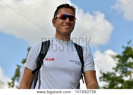ST. PETERSBURG, RUSSIA - AUGUST 23, 2015: Tactician of Lino Sonego Team Italia Enrico Zennaro before last day of St. Petersburg stage of Extreme Sailing Series. The team took 2nd place in this stage