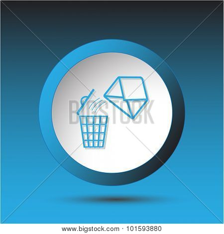 open mail with bin. Plastic button. Vector illustration.