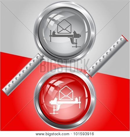 open mail with clamp. Vector magnifying glass.