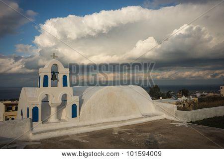 Campanile Of The White Church And Scenic Cloud, Oia, Santorini, Greece.