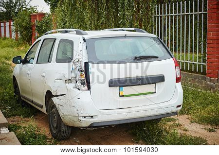 White Car After An Accident