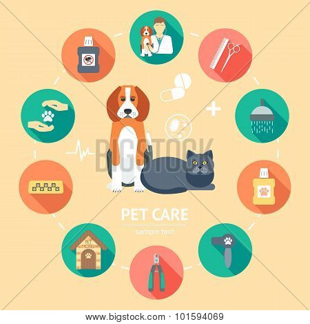 Pet Care Flat Icon Set. Pet Care Banner, Background, Poster, Concept. Flat Design. Vector
