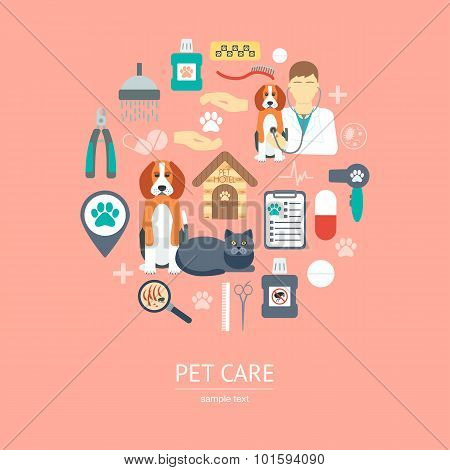 Pet Care Icon Concept. Flat Design. Vector