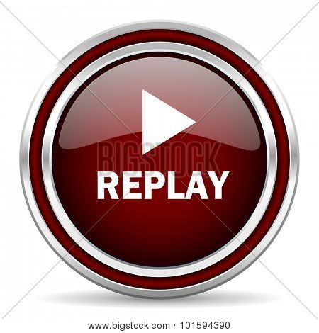 replay red glossy web icon