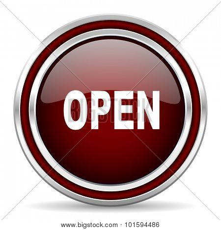 open red glossy web icon