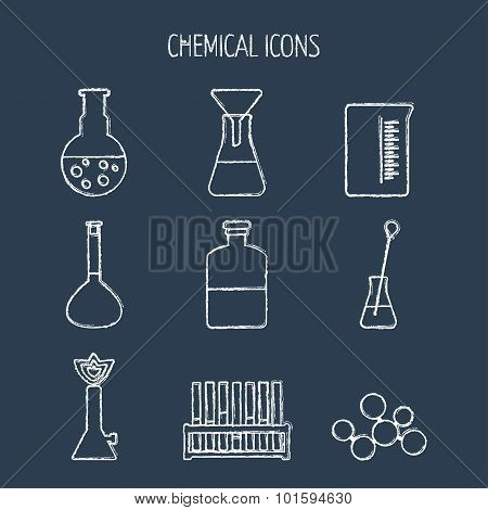 Set Of Linear Chemical Icons. Painted With Chalk. Flat Design. Isolated. Vector