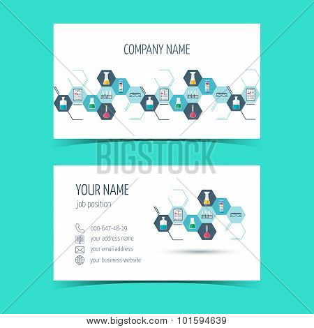 Business Cards For Chemical And Scientific Companies. Vector