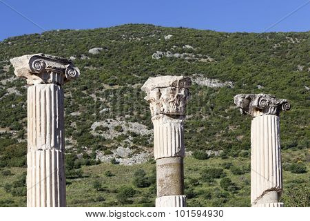 Landscape with ancient columns of at Ephesus, Turkey