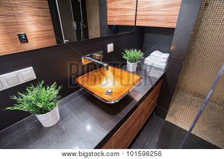 Modern Washbasin In Luxury Toilet