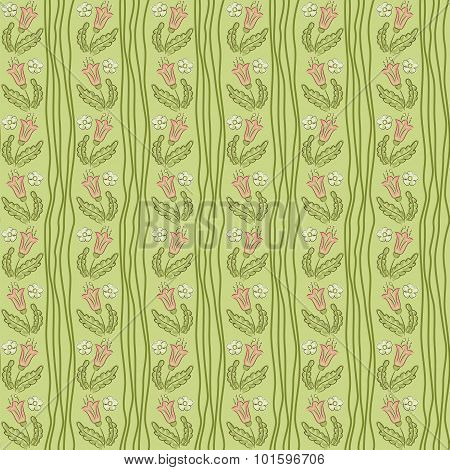 Seamless Crooked Wavy Lines Flower Pattern