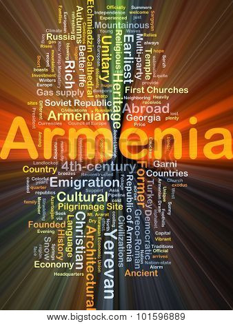 Background concept wordcloud illustration of Armenia glowing light