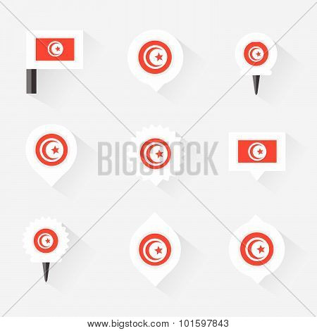 Tunisia Flag And Pins For Infographic, And Map Design