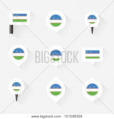 Uzbekistan Flag And Pins For Infographic, And Map Design