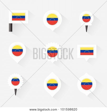 Venezuela Flag And Pins For Infographic, And Map Design