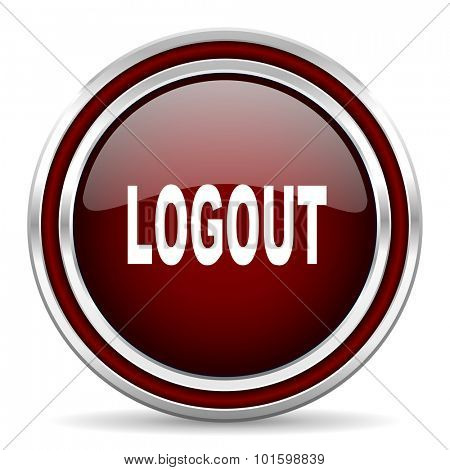 logout red glossy web icon