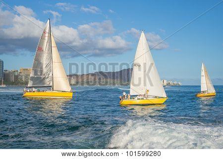 Trio of Yellow Sailboats