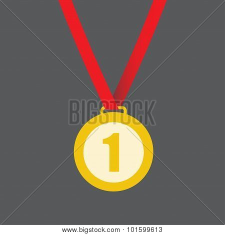 Gold medal on award ribbon. First place symbol. Vector.