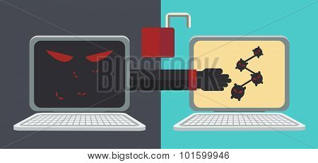 Computer Network Security Hand Black Vector