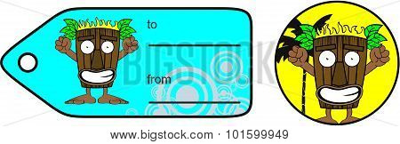 tiki hawaiian happy cartoon giftcard