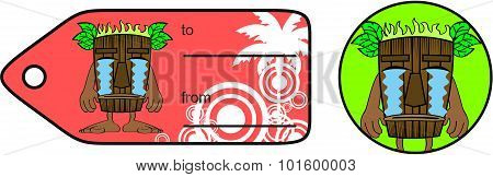 crying tiki hawaiian mask cartoon giftcard