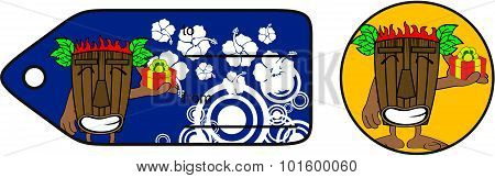gift tiki hawaiian mask cartoon giftcard