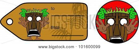 screaming tiki hawaiian mask cartoon giftcard