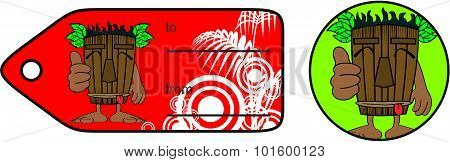 tiki hawaiian mask cartoon giftcard