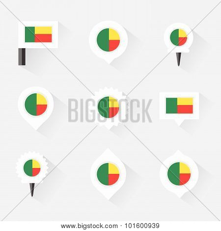 Benin Flag And Pins For Infographic, And Map Design