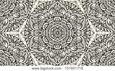 Detailed seamless pattern. Ink drawing.
